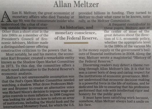 WSJ, Allan Meltzer 5-10-17