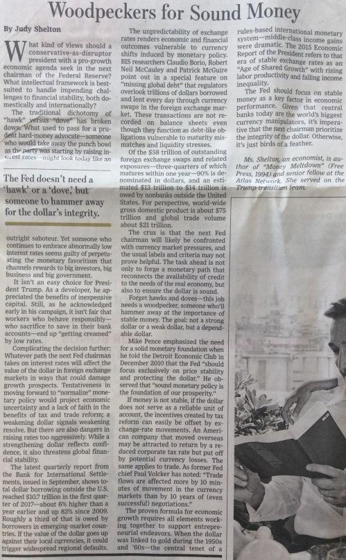 Judy Shelton Wall Street Journal Sound Money