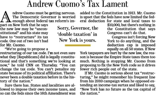 Wall Street Journal editorial Governor Andrew Cuomo tax reform